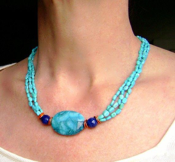 Blue collar collar de turquesa collar joyería de cobre