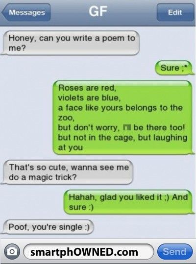 #1 funny text!:) my friend did that to her boy friend at a church event and he was cheating on her