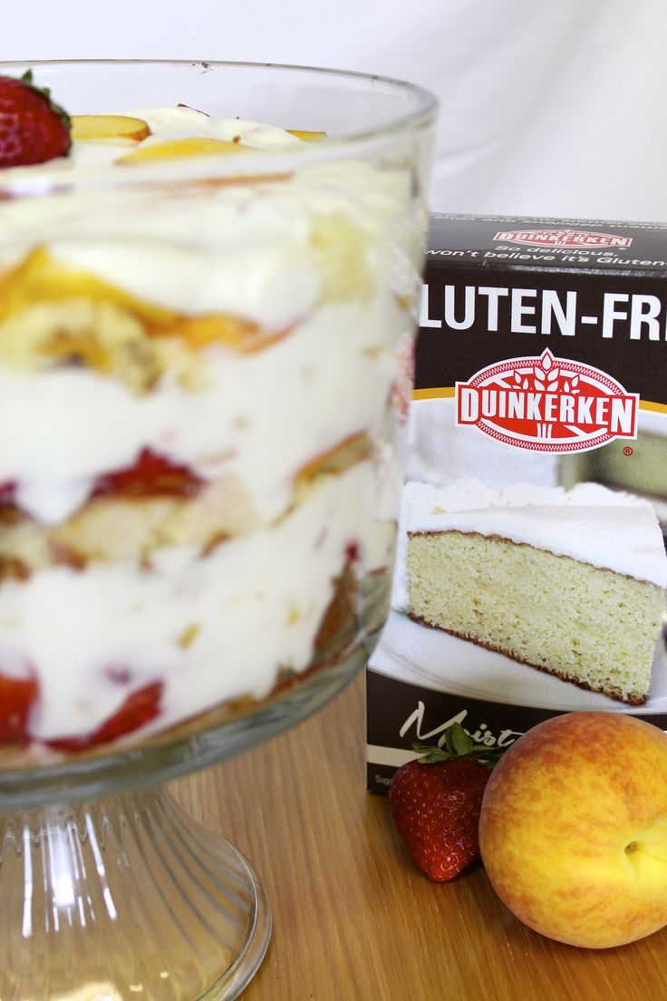 With layers of delicious fresh fruit, yogurt, and Duinkerken vanilla cake, our Fresh Peach Trifle recipe is bursting with scrumptious flavor.  It exudes the sweet taste of summertime, and is the perfect dessert option for a large gathering such as a backyard BBQ or bridal shower.