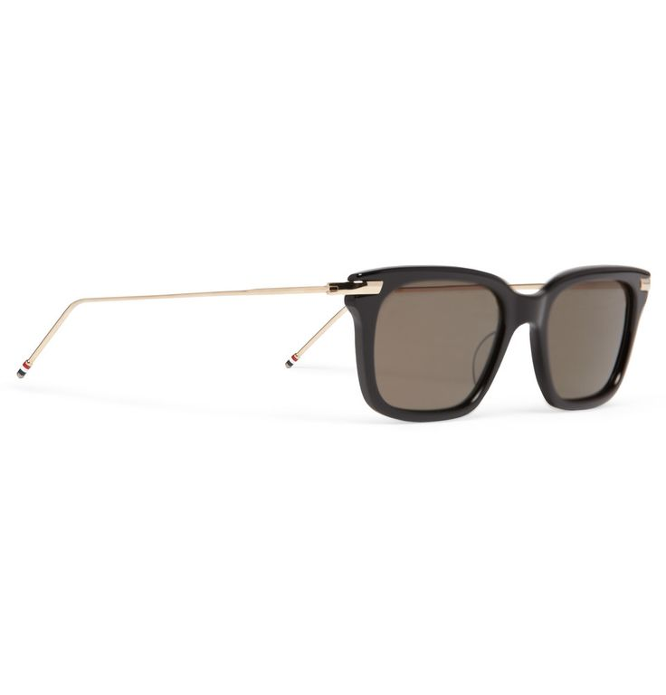 Thom Browne12-Karat Gold and Acetate Square-Frame Sunglasses|MR PORTER