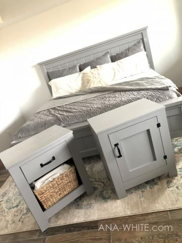 Cabinet Style Farmhouse Nightstand with Door free diy plans by Ana-white.com #anawhite #nightstand #nightstands #bedsidetable