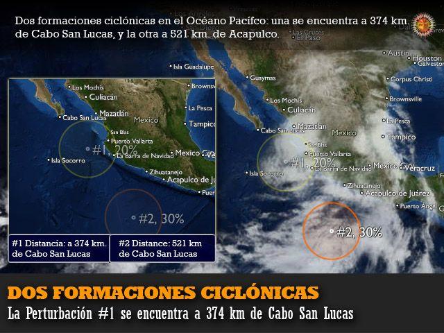 Clima en el Pacífico: dos formaciones ciclónicas, #1 cerca de Los Cabos y #2 cerca de Acapulco