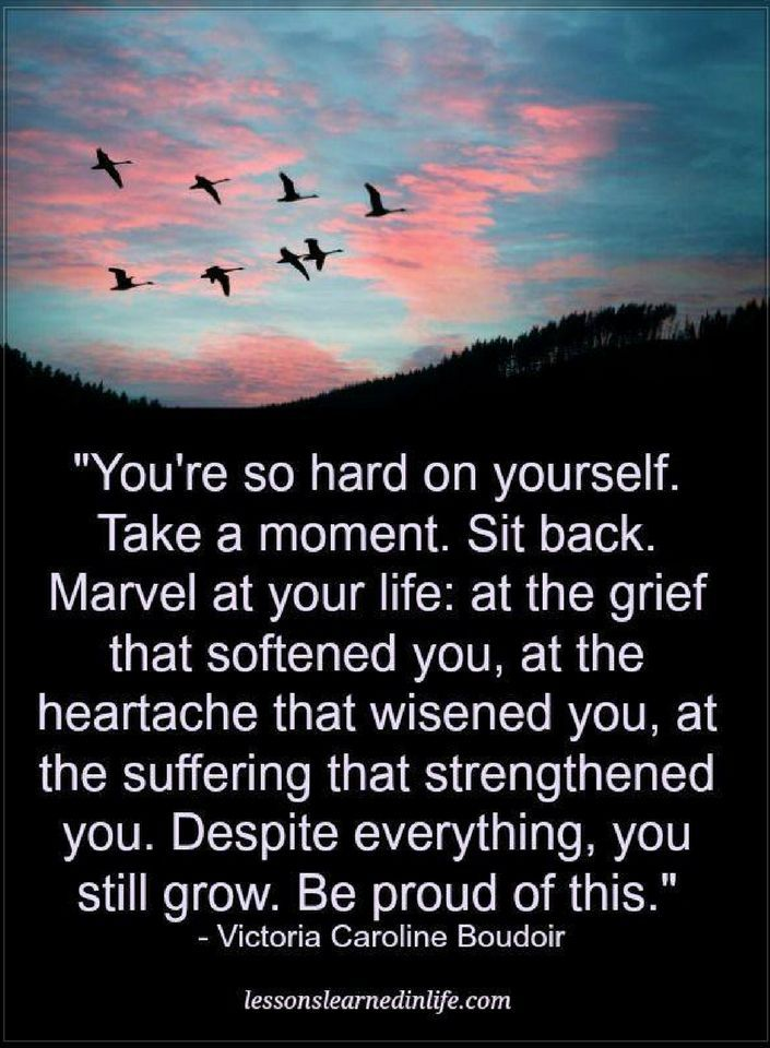 Quotes You're so hard on yourself. Take a moment. sit back. marvel at your life, at the grief that softened you at the heartache that wisened you, at the suffering that strengthened you.