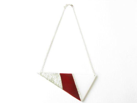Christmas SaleRed Geometric NecklaceResin by SotiriaVasileiou