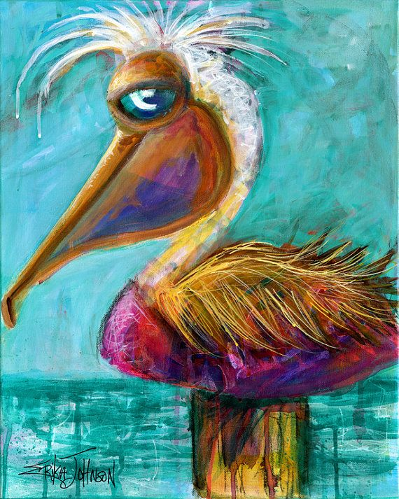 Purple Pelican 2 from the Beach Bum Series - 11 x 14 inches art reproduction/print on archival paper by Erika Johnson-pelican art