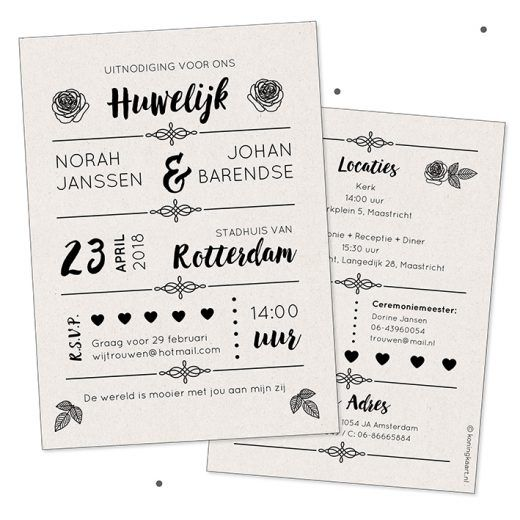 Enkele kraftpapier trouwkaart zwart wit met rozen en typografie