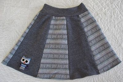 Recycled wool owl skirt tutorial. I think the pattern is cute even if you don't use sweaters.