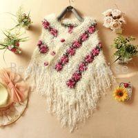 Handmade Crochet camisolas 2016 primavera mulheres Mohair rosa Floral oco Out Batwing Tassel envoltório balanço Cardigan femininas 5086
