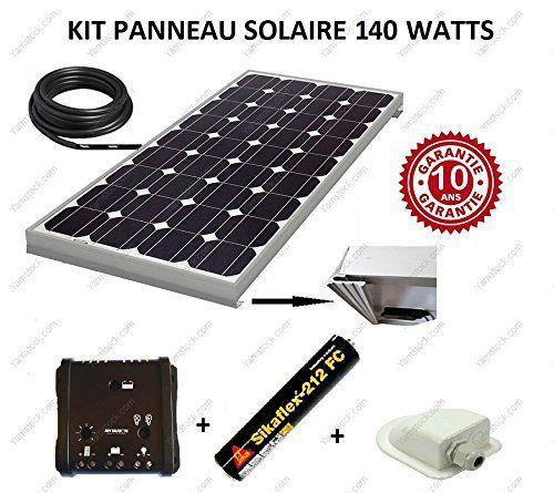 Kit panneau solaire 140w 12v monocristallin pour camping car + regulateur + cable + fixation + colle: KIT COMPLET PANNEAU SOLAIRE…
