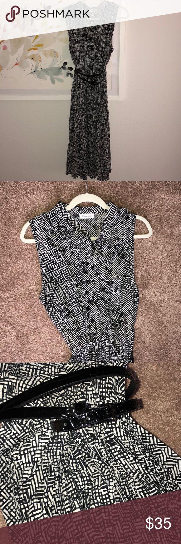 Calvin Klein Dress Sleeve less pleated skirt dress from Calvin Klein. Belt is embossed croc and included. Calvin Klein Dresses Midi
