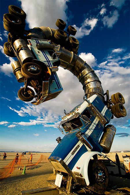 Big Rig Jig Truck Sculpture  Giant sculpture designed by Mike Ross, is built from two repurposed 18-wheeler tanker trucks