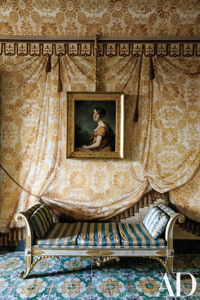 Ruined Sicilian Palazzo Brought Back to Life Photos | Architectural Digest: Delphine Nény painted the tented room. Italian empire daybed; 19th-century portrait attributed to Henri-François Riesener.