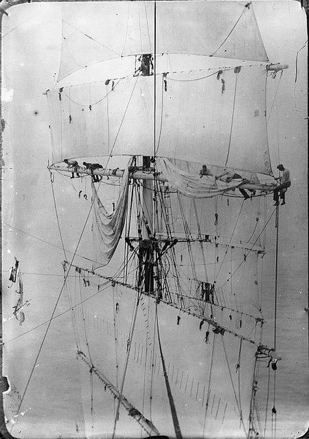 Photographer: David De Maus  Rigging and sailors, ca 1900 Glass negative De Maus Collection, Alexander Turnbull Library, National Library of New Zealand