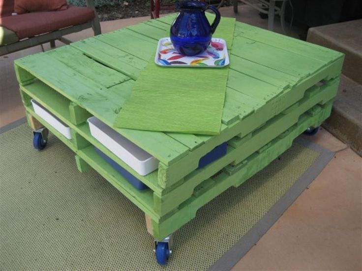 Two tiered pallet table (this site has all kinds of repurposing pallet ideas).  I'd put a planter down the middle of this table if using outdoors.