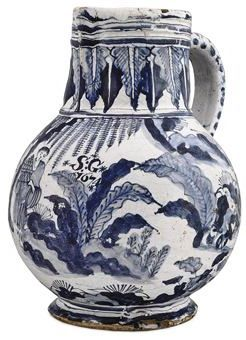 A LONDON DELFT DATED BLUE AND WHITE CHINOISERIE JUG 1674 Of globular form with cylindrical neck, pinched lip and grooved strap handle, the body painted with a continuous scene with figures beneath willow and among grasses and boulders with the initials S:G/1674, the neck with pendant stiff leaves between blue-band rims