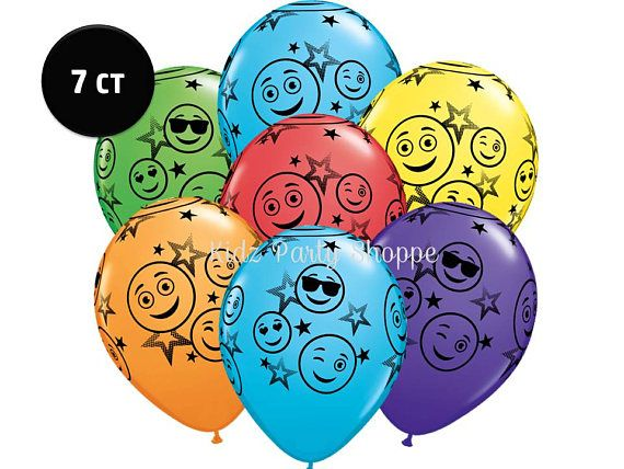 "Emoji Balloons 11"" Latex [7ct] Smiley Faces Stars Emoticon Party Supplies Decorations Decor Supply Centerpiece Backdrop Photo Prop"