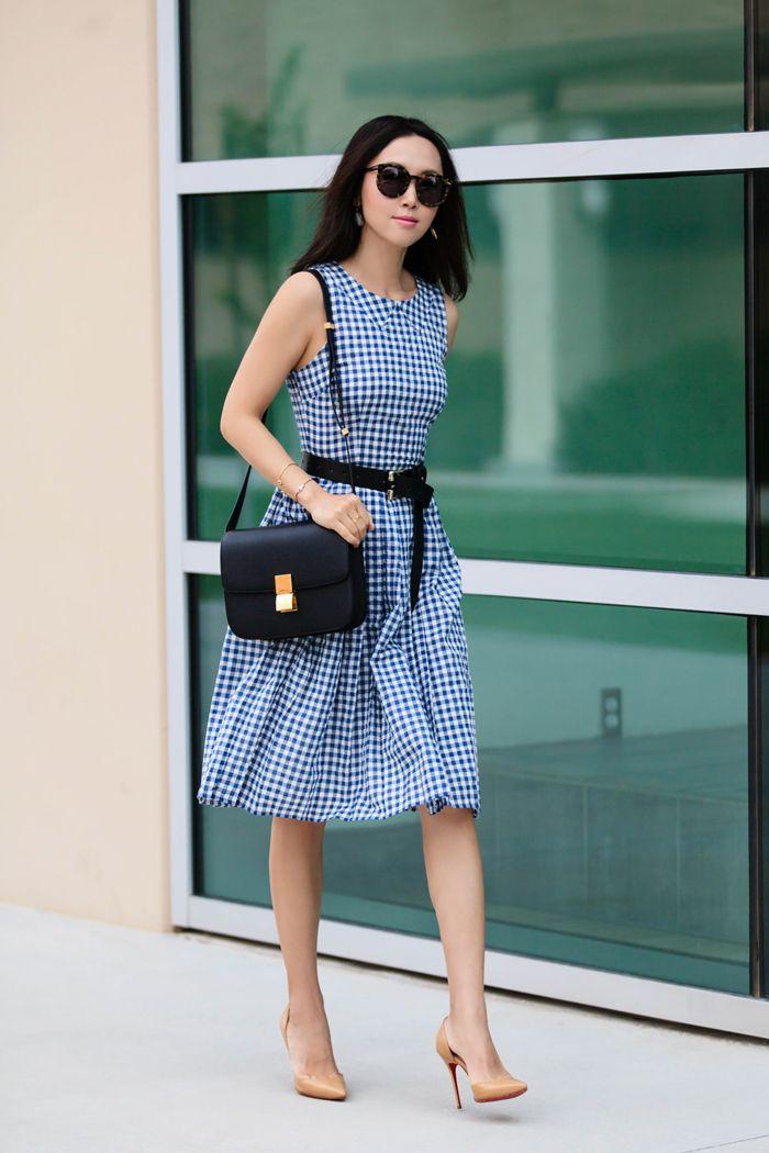 christian louboutin shoes replica - Kaya \u0026amp; Sloane Gingham Fit \u0026amp; Flare Midi Dress, dress for work ...
