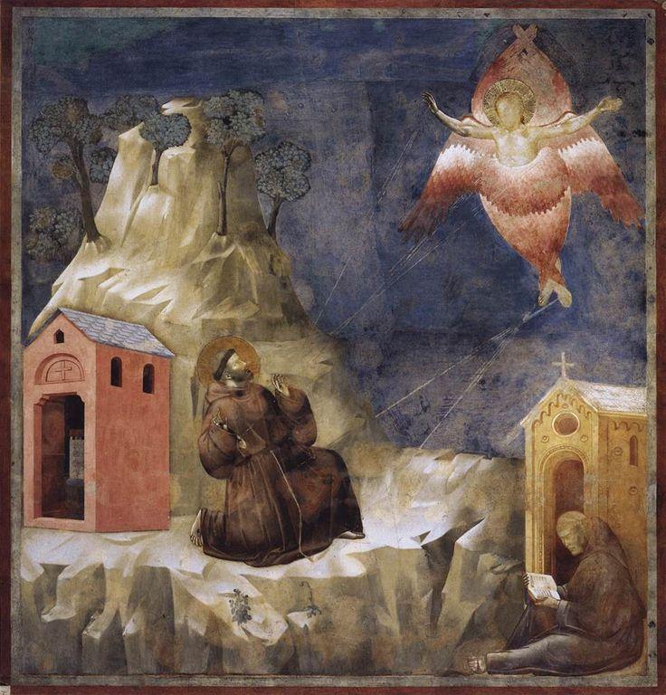 Stigmatization of St. Francis - Giotto:  9.1 aureool; bruine pij; touw met drie knopen om middel; typische monniktonsuur;  stigmata