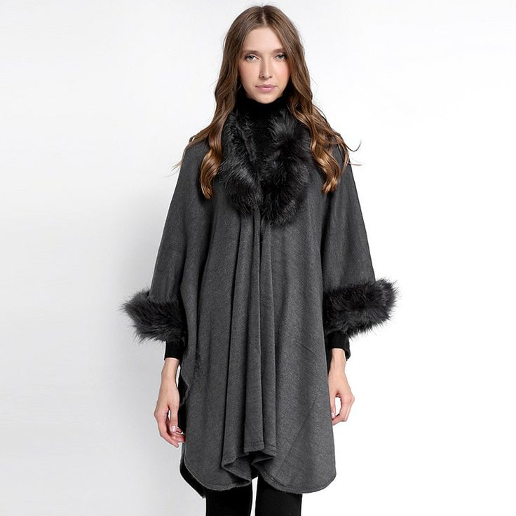 Autumn/Winter 2014 | FULLAHSUGAH KNITTED FAUX FUR TRIM CAPE | €39.90 | 4420100622 | http://fullahsugah.gr