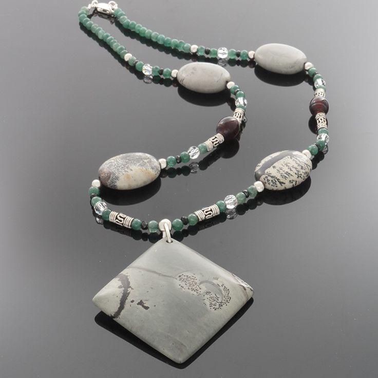 Grey Jasper, Green Jade, Black Sapphire, Amber & silver Necklace