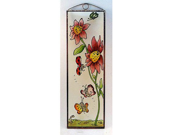 Ladybug  Painted Glass by KorosiArt on Etsy