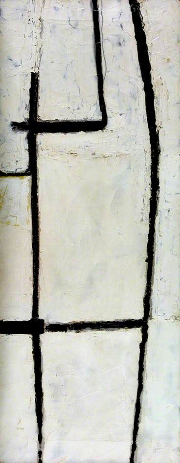 "Roger Hilton (British abstract expressionist) - ""Black on White, March 1954"", 1954, Oil on canvas, 76.2 x 30.6 cm"