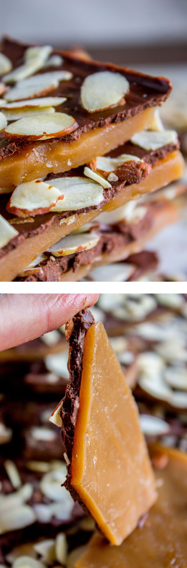 This is the BEST recipe for homemade English Toffee, hands down! This is such an easy and QUICK treat to make for the Christmas holidays. You don't even need a candy thermometer! Eric is re-washing the sheet pan that he just washed, because there was still butter on it from making this toffee on it …