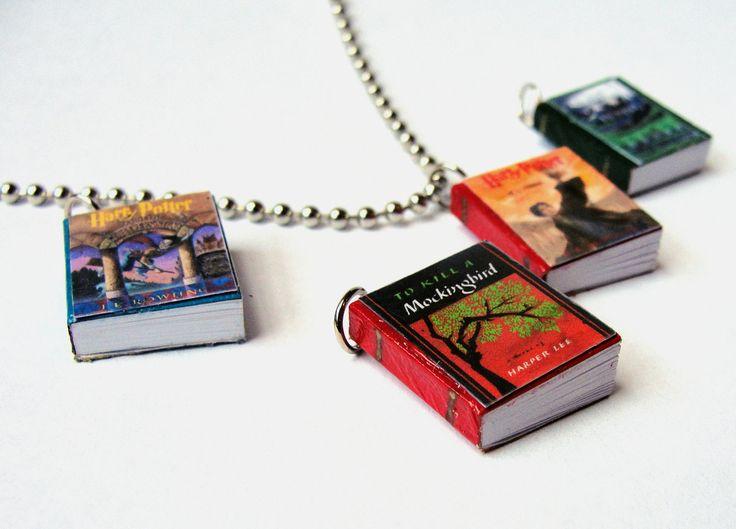 Miniature Book PendantsEtsy.Small Book, Easily Custom, Book Pendantsetsi, Miniatures Booksknihi, Book Ideas, Book Necklaces, Favorite Novelbook, Wearable Art, Baby Book