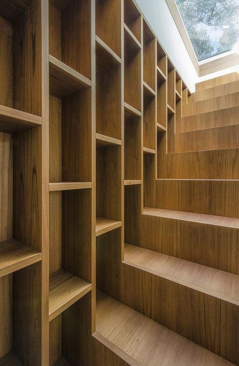 stairs/shelves. -  -  think of the space along your staircase!  This is a great idea....