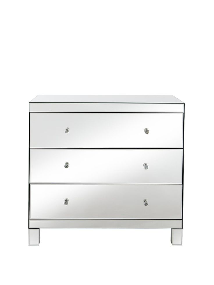 parisian ready assembled mirrored wide 3 drawer chest - Ready Assembled White Bedroom Furniture