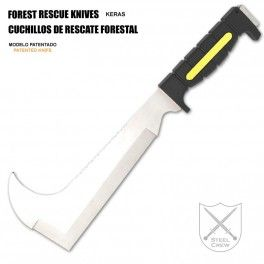 Machete de rescate forestal AITOR KERAS con hoja de 24,3 cm. Cuchillo para cuerpos especiales y de rescate forestal, bomberos, policía con hoja de acero X50 Cr13 y mango de caucho antideslizante. Forest rescue machete AITOR KERAS with blade 24.3 cm long. Knife for forest rescue teams, firefighters and police made of  X50 Cr13 steel and non-slip rubber handle. €177.85