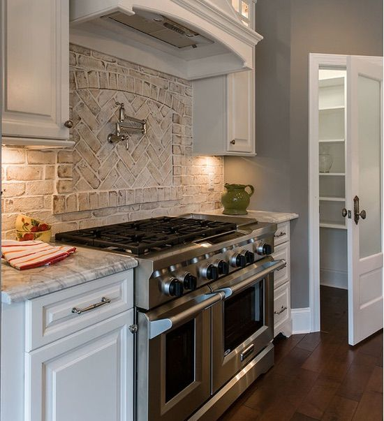 White Brick Backsplash! Chesapeake Pearl Thin Brick by Pine Hall.
