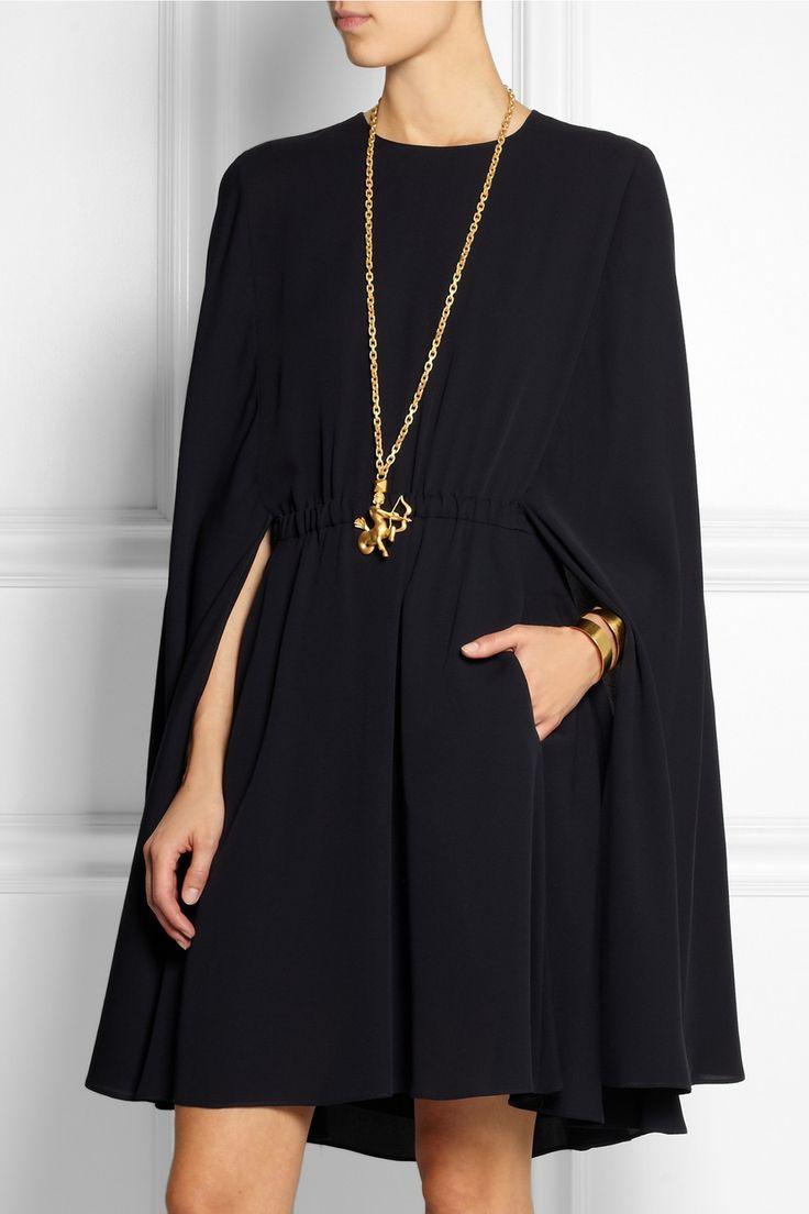 Valentino | Cape-style silk-crepe mini dress | NET-A-PORTER.COM