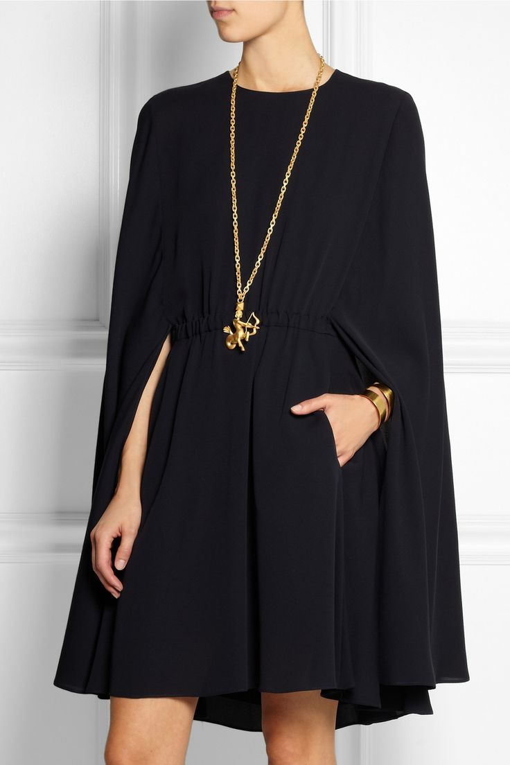 Valentino | Cape-style silk-crepe mini dress | NET-A-PORTER.COM: