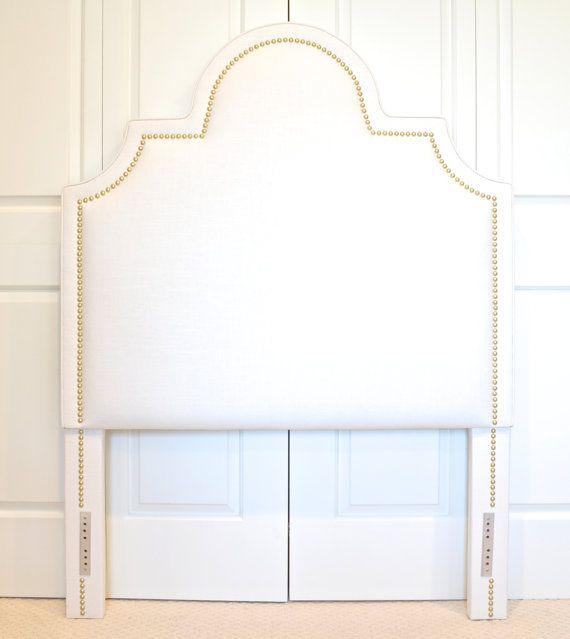 Upholstered Headboard Portman Shape White Linen by ShorelineHome