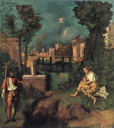 Giorgione, La Tempête, 1500- 1510, Huile sur toile, Dimensions : (82-83) x 73 cm, Galerie dell'Accademia (Venise, Italie)