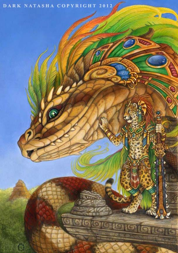 "The Return Of Quetzalcoatl - ""Two Mayan gods ready for the end of the world."" Art of Dark Natasha."
