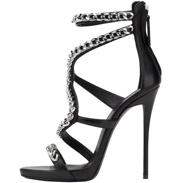 Preowned Gisuseppe Zanotti New Sold Out Black Leather Silver Chain... ($1,375) ❤ liked on Polyvore featuring shoes, sandals, black, high heels, leather sandals, black shoes, silver sandals, high heels sandals and giuseppe zanotti sandals