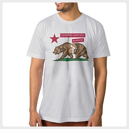 Men California Republic Bandana Bear Football Team Cool Tee Shirt