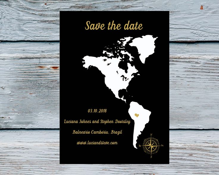 North and South America map Save the date Travel Save the date destination wedding card travel theme Unique Save the Date cards Modern by Kompostela on Etsy