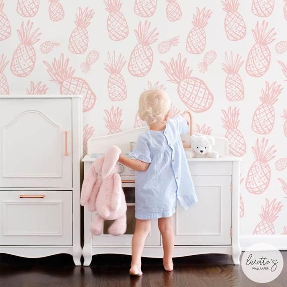 Tropical Pink Pineapple Wallpaper Baby Girl Nursery Fruits Etsy Pink Pineapple Wallpaper Pineapple Wallpaper Removable Wallpaper