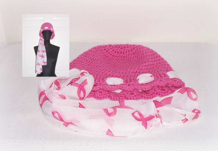 Crochet Chemo Cap Scarf Tie Pink Ribbon Cap Women's Girl's  Breast Cancer Awareness Scarf Cancer Head Hugger Crochet Cap Beanie Crochet by ICreateAndCollect on Etsy
