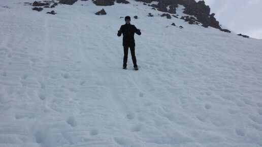 Ed in the snow at Mt Ruapae,  North Island New Zealand