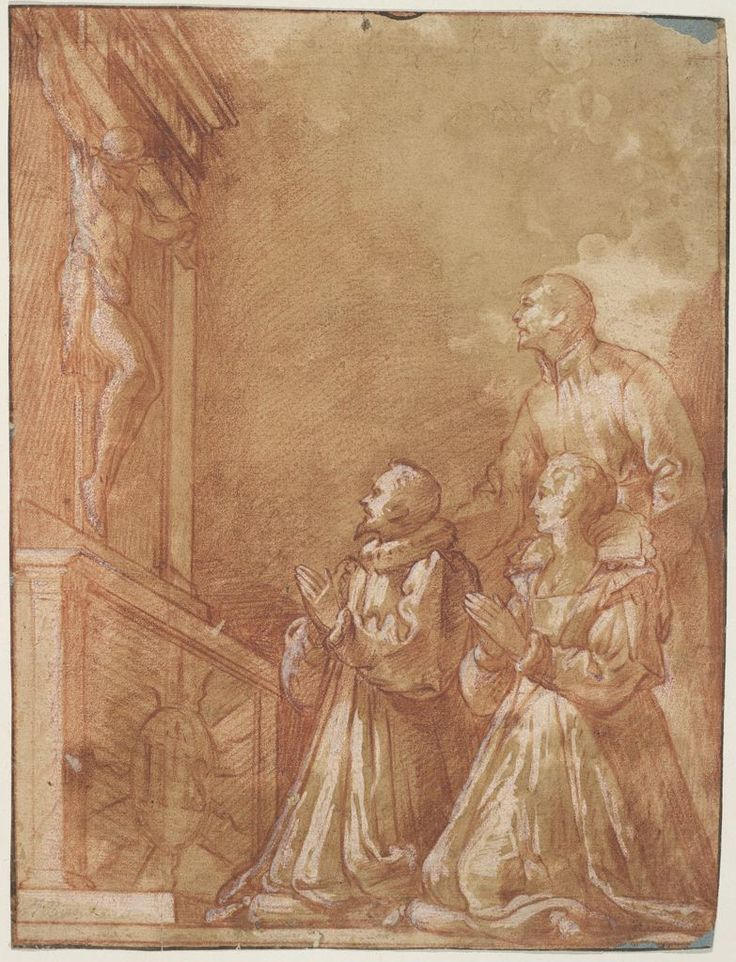 Federico Zuccaro (Federico Zuccari), c.1540/1541-1609, Italian, Nobles Worshipping Before a Crucifix, 16th-17th century.  Red chalk heightened with white gouache on tan antique laid paper, laid down, 27 x 20.5 cm.  Harvard University Art Museums, Massachusetts.  Mannerism.