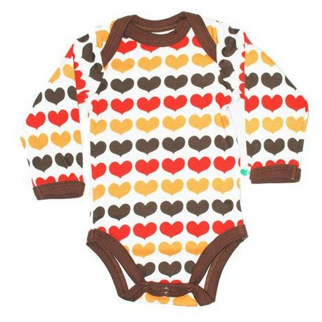 Body long sleeve, fair & organic, white with brown/red/orange hearts and brown trims, Sture & Lisa