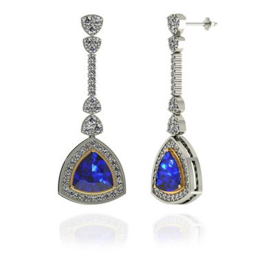 3ctw Trillion Tanzanite Earring With 1 06ctw Diamonds In 14k White Gold