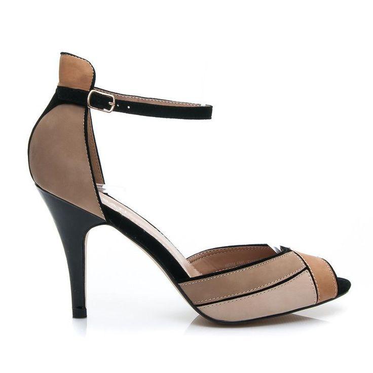 Beżowo brązowe eleganckie sandały na Szpilce