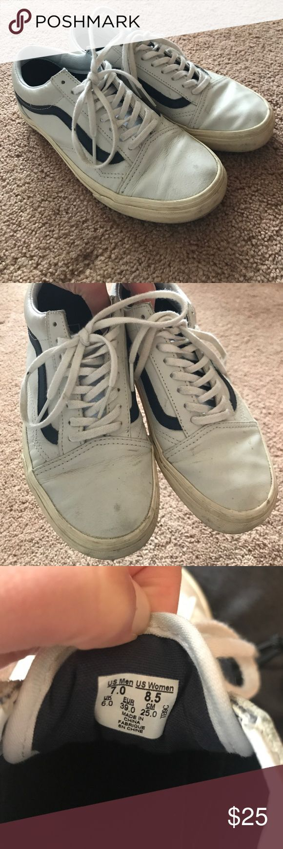 White leather Vans White leather vans with blue stripe.  Worn a handful of times. Vans Shoes Sneakers