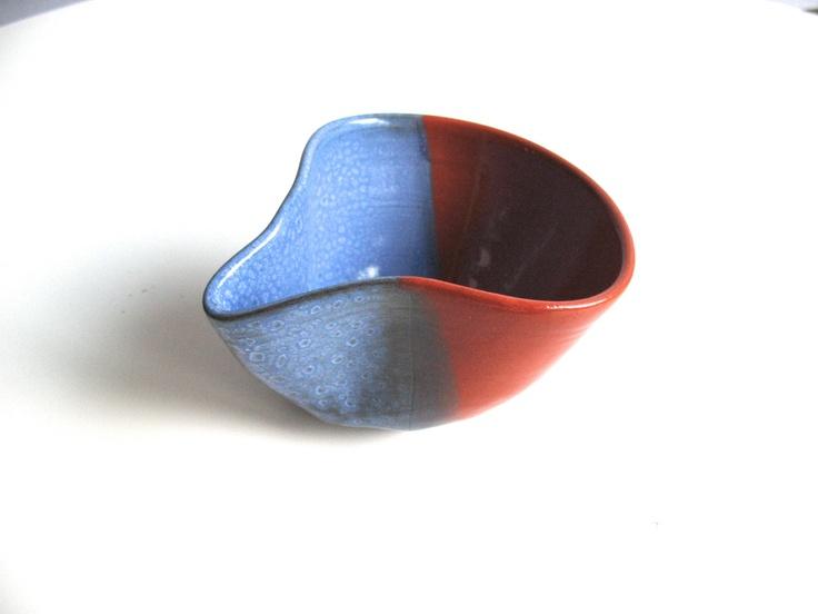 Experimental Blue Wheel Thrown Pottery Coffee Cup Original Ceramics Rust Brown Handmade