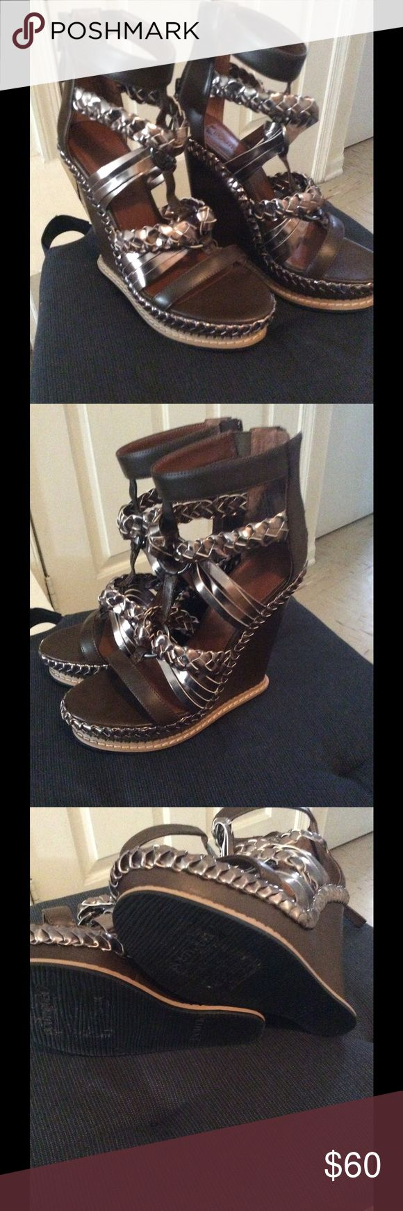 Women's caged sandals Brown wedges with metallic trim Boutique 9 Shoes Sandals